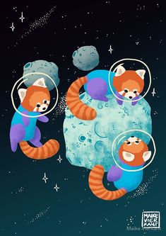 Red Space Pandas by Maike Vierkant - A fantasy image of three red pandas wearing space suits exploring an asteroid.