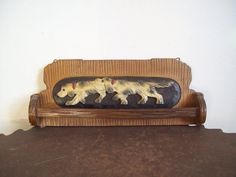 This wooden towel rack adds some rustic cabin charm to the bathroom, year round. The hand carved English Setter dogs are adorable! Antique wood towel rack with English Setters by LostTreeMan
