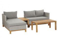SIENA GARDEN Ohio Loungeset, light grey, Alu / FSC Akazie / Gardino® Geflecht, 3-4 Personen   Gartenmoebel.de