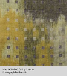 Marcia Weiss: Really enjoyed her entries in the HGA exhibit in Providence, 2014, as well as her work hung at the associated Complex weavers' exhibit for which she was a juror.