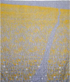 Elizabeth Brimelow, Gaudy Ground, © 2006, 150 x 127 cm  Transparent silk quilt. Hand and machine stitch, screen print, knotted
