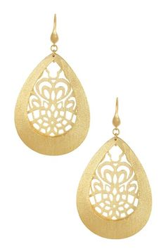 18K Gold Clad Satin Open Design Caged Teardrop Dangle Earrings by Rivka Friedman on @HauteLook