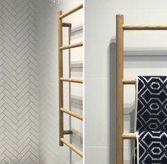 This awesome towel rail from Scandilux is a cool new way to bring in a touch of timber to your bathroom.  We love how new ideas and technologies are transforming how we approach bathroom design and renovations.  #outsidethebox #bathroomideas #bathroomdesign #bathroombuilder #timberbathroom #towelrails #bathroomreno #scandibathroom #coastalbathroom