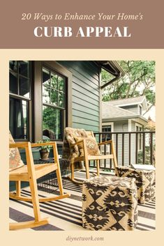 Tour the exterior features of HGTV Urban Oasis a Craftsman bungalow in Ann… - Home & DIY Craftsman Exterior, Craftsman Style Homes, Craftsman Bungalows, Bungalow Exterior, Exterior Paint Colors, Exterior House Colors, Green Front Doors, Porch Decorating, House Painting