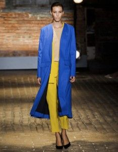 Speaking of colorblocking, that's just what designer Azrouel calls this eyecatching outfit from the spring runway.