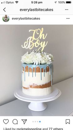 48 Ideas Baby Boy Shower Cakes And Cupcakes Blue Baby Shower Snacks, Baby Shower Drinks, Baby Shower Cakes For Boys, Baby Shower Desserts, Baby Shower Brunch, Baby Shower Cookies, Baby Shower Fall, Baby Boy Shower, Baby Shower Drip Cake