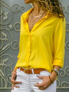 Turn Down Collar Single Breasted Plain blouse for women chic blouse for women chic casual blouse for women chic style blouse for women chic fashion designers blouse for women chic shirts Plus Size Shirts, Plus Size Blouses, Look Fashion, Fashion Outfits, Womens Fashion, Fashion Trends, Bluse Outfit, Casual Outfits, Summer Outfits