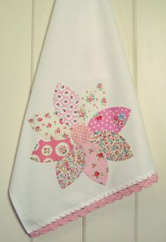 pretty dahlia flour sack tea towel no. 4 new in the shoppe! vintagegreyhandmade