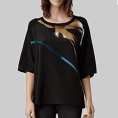 ALL SAINTS Dispersed Knit Top This stunning dispersed knit top from ALL SAINTS features a modern digitally printed gold and turquoise watercolor design on a 100% silk front panel, and 100% graphite finely knit merino wool sleeves and back panel. High low shape, oversized fit, 3/4 dolman sleeves. Pair with leggings or skinny jeans to complete the look! Gently preloved and in LIKE NEW condition! Make this top your wardrobe's newest conversation piece today!  All Saints Tops