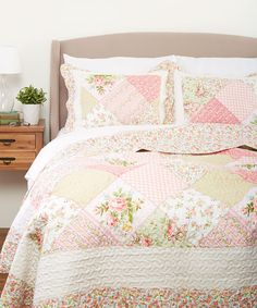 This sweet quilt set features vibrant floral patterns and high-quality cotton to whisk you away to dreamland in utmost comfort. Includes two shams and quilt (twin size includes one sham)100% cottonMachine wash; tumble dryImported