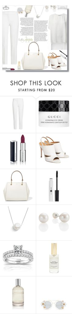 """White trousers - Contest!"" by sarahguo ❤ liked on Polyvore featuring MaxMara, Gucci, Givenchy, DKNY, Chan Luu, Annello, Mullein & Sparrow, (MALIN+GOETZ) and Cara Accessories"