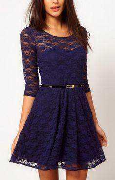 Dark Blue Three Quarter Sleeves O-neck A-line Lace Dress