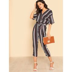 5b6a30b008c SheIn(sheinside) Self Belted Striped Wrap Jumpsuit ( 25) ❤ liked on  Polyvore featuring jumpsuits