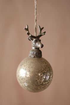 Kalalou Glass Ball With Deer Christmas Ornament - Antiqued and timeless, these glass ornaments are topped with beautifully detailed cast-metal deer finials. The set of six is sure to offer plenty of rustic Holiday charm to your home. Deer Ornament, Christmas Ornament Sets, Noel Christmas, Vintage Christmas Ornaments, Christmas Baubles, Rustic Christmas, Glass Ornaments, Winter Christmas, Christmas Decorations