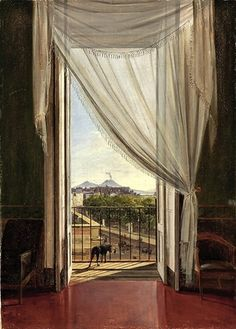 Franz Ludwig Catel (German, 1788–1856) A View of Naples through a Window, 1824 Oil on paper, mounted on canvas; 18 1/2 x 13 1/8 in. (46.8 x 33.5 cm) The Cleveland Museum of Art, Mr. and Mrs. William H. Marlatt Fund