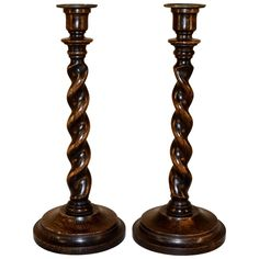19th Century Pair of English Oak Candlesticks | See more antique and modern Candle Holders at https://www.1stdibs.com/furniture/decorative-objects/candle-holders