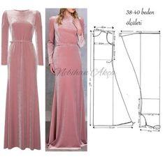 No photo description available. Evening Dress Patterns, Dress Making Patterns, Fashion Sewing, Diy Fashion, Gown Pattern, Abaya Fashion, Diy Dress, Pattern Fashion, Clothing Patterns