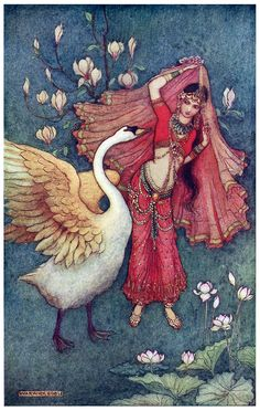 oldbookillustrations:  Damayanti and the swan.  Warwick Goble, from Indian myth and legend, by Donald Alexander Mackenzie, London, 1913.  (Source: archive.org)