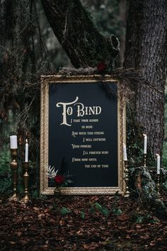 """Display this spell-binding sign at your Halloween wedding ceremony. wedding signs These Halloween Wedding Ideas Give New Meaning to """"'Til Death Do Us Part"""" Wedding Ceremony Ideas, Wedding Tips, Fall Wedding, Wedding Events, Our Wedding, Dream Wedding, Wedding Hacks, Forest Wedding, Friend Wedding"""