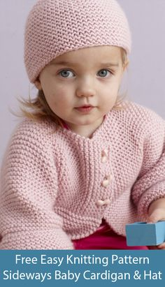 patterns free hats flat Free Knitting Pattern for Easy Garter Stitch Sideways Baby Cardigan and Hat Baby Cardigan Knitting Pattern Free, Baby Sweater Patterns, Knitted Baby Cardigan, Knit Baby Sweaters, Baby Hats Knitting, Baby Patterns, Free Knitting, Knitted Hats, Baby Hat Knitting Patterns Free