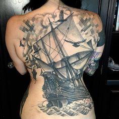 I'm on a boat! @gypsiesrising #gracelandbrooklyn #eastsideink #backpiece #blackandgreytattoo #pirate #arrrrr #enya #southerncross #tallship by joshualord