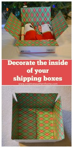 Easily decorate the inside of your shipping boxes.  www.creativesouthernhome.com