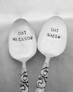 Dat Ass & Dat Beard Pair of Spoons Funny Hand Stamped Spoons by SweetMintHandmade