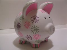 Daisy Patterned Piggy Bank  Pink Lavender & Pastel by PigPatrol, $35.00