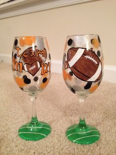 Team Mom Gift!  Painted Wine Glasses