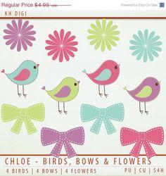 80% OFF SALE Bird Clip Art -  Chloe Birds, Bows & Flowers -  ClipArt Scrapbooking Instant Download G7450