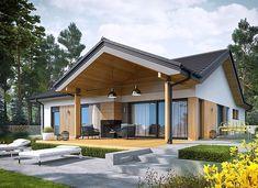 Simon IV G2 energo - zdjęcie 2 New House Plans, Modern House Plans, Modern House Design, Simple Bungalow House Designs, Modern Bungalow Exterior, Dream House Exterior, Simple House Exterior, Beautiful House Plans, Pergola Designs