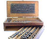 Antique Wooden Tool Box Irwin Auger Drill Bits Hand Tools Wood Chest
