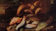 ELENA RECCO  ( attiva a Napoli tra la fine del '600 e l'inizio del '700 ). NATURA MORTA DI PESCI CON CESTA SULLA DESTRA E GRANDE CROSTACEO SULLA SINISTRA. olio su tela. 97 × 134 cm.