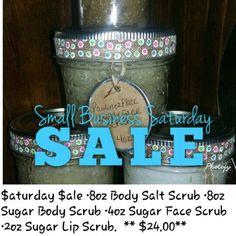 Small Business Saturday Sale 8oz Sugar Body Scrub, 4oz Sugar Face Scrub, 2oz Sugar Lip Scrub  ****$24****