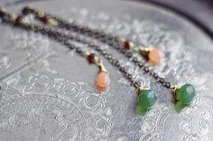 Long dangle chain earrings with brass chain green by SabiKrabi, $28.00
