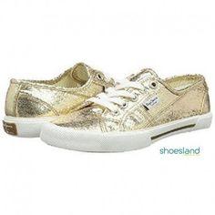c7f3c2107 Zapatillas lona Pepe Jeans doradas brillantes cordones