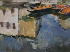 """Raphaële GOINEAU, """"L'embarcadère à Coulon"""" on ArtStack #raphaele-goineau #art  """"STACKEZ"""" MA TOILE SUR ARTSTACK; C'EST UN CONCOUR! MERCI! Cela me permettrait de voir ma toile vendue aux enchère chez Christie's!!!"""