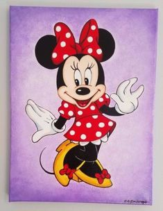 MINNIE-MOUSE-ACRYLIC-PAINTING-stretched-canvas-12-034-x-16-034-Art-Decor-Kids-Girls