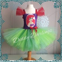Little Mermaid Tutu Dress. Ariel Tutu Dress.  Beautiful & lovingly handmade.  All characters and colours available Price varies on size, starting from £25.  Please message us for more info.  Find us on Facebook www.facebook.com/DiddyDarlings1 or our website www.diddydarlings.co.uk