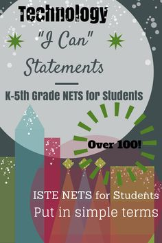 Does your elementary school have a set of I Can Statements for the technology standards? Grab this bundle of K-5th grade statements based on the ISTE NETS for Students. Over 100 half-page posters are in this set and they pop thanks to amazing clip art from Whimsy Clips! $