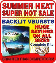 backlit burst trade show pop up displays on sale