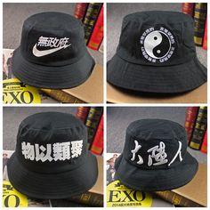 419e08a1fde5d5 Free Shipping 2015 New Fashion Spring Black Cotton Bucket Hats Hip Hop Fishing  Caps For Women