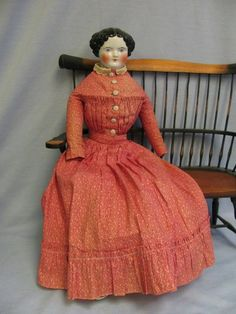 "23"" Pretty Early CHINA Head doll c1860 All-Original Cloth Body, from turnofthecenturyantiques on Ruby Lane"