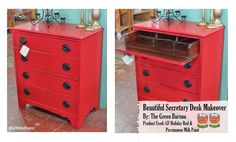 We're loving this secretary desk refinish by The Green Bureau, https://www.facebook.com/greenbureaufurniture. It was painted with GF Holiday Red and Persimmon Milk Paint. #generalfinishes #gfmilkpaint #paintedfurniture
