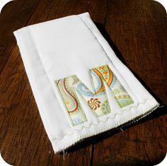 Personalized Burp Cloth. Ugh. SO many cute things!