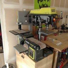 """3,253 Likes, 66 Comments - RYOBI Power Tools (@ryobipowertools) on Instagram: """"We're diggin' this benchtop super-station from @fs_woodworking! All in one place, but functional.…"""""""