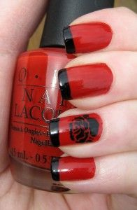 red nail w/ black tips
