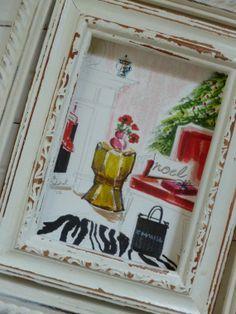 Holiday Painting of Interior... Original Painting by shannspishak, $60.00