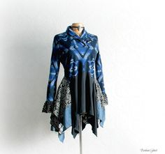 Blue Tribal Print Lagenlook Top Women's by BrokenGhostClothing