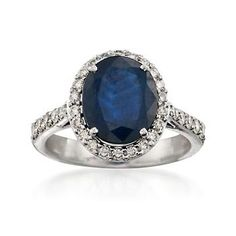 Traditional design always stands the test of time. Experience this classic-style ring now and for years to come with its 3.50 carat oval sapphire adorned with .60 ct. t.w. brilliant-cut diamond rounds. 14kt white gold ring. Free shipping & easy 30-day returns. Fabulous jewelry. Great prices. Since 1952.